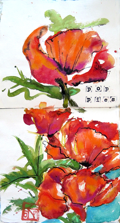 poppy watercolor, mixed media by kellie day