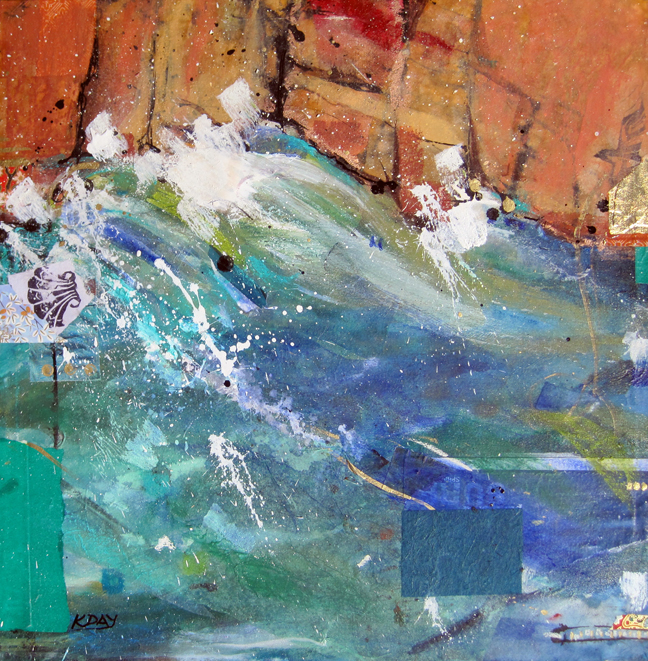 "Desert Waters, mixed media on canvas by Kellie Day, 18"" x 18"""
