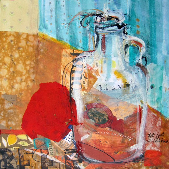 beer, mixed media painting by kellie day