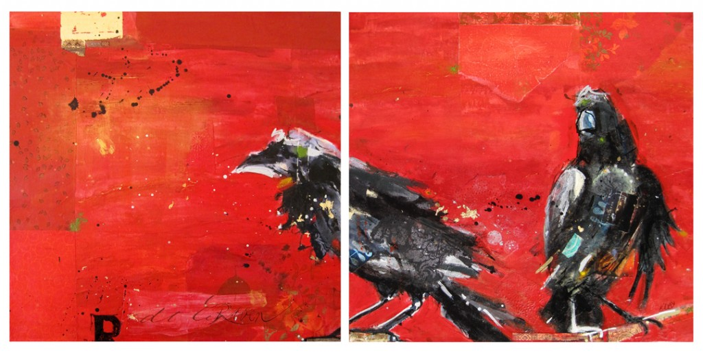 "Raven, mixed media on canvas by Kellie Day, 49"" x 24"", diptych"