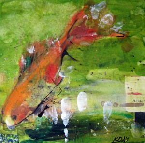 "April Fish, mixed media on canvas by Kellie Day, 9"" x 9"", ©2012"