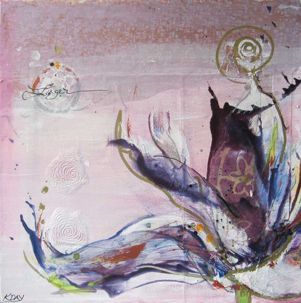 "Linger, mixed media on canvas by Kellie Day, 12"" x 12"", ©2012, SOLD"
