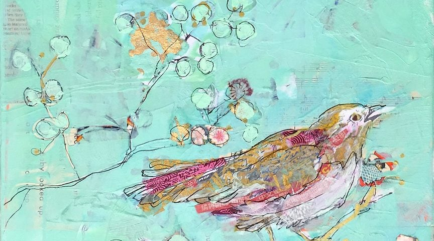 Birds of a Feather, mixed media bird painting ©Kellie Day