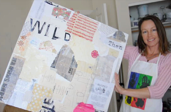 Creating a collage background for a mixed media painting, an online class with Kellie Day