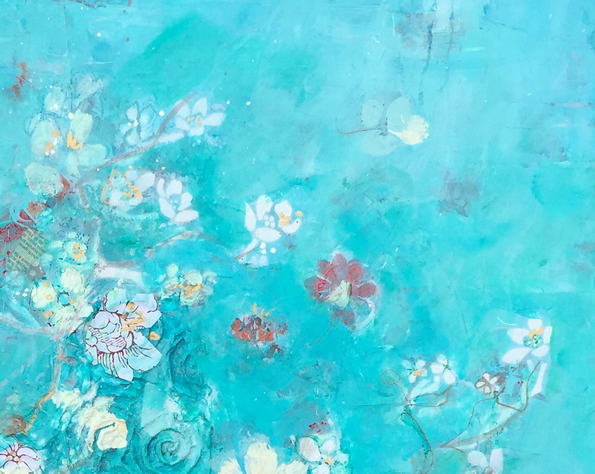 detail of Butter blossoms, mixed media on canvas ©Kellie DAy