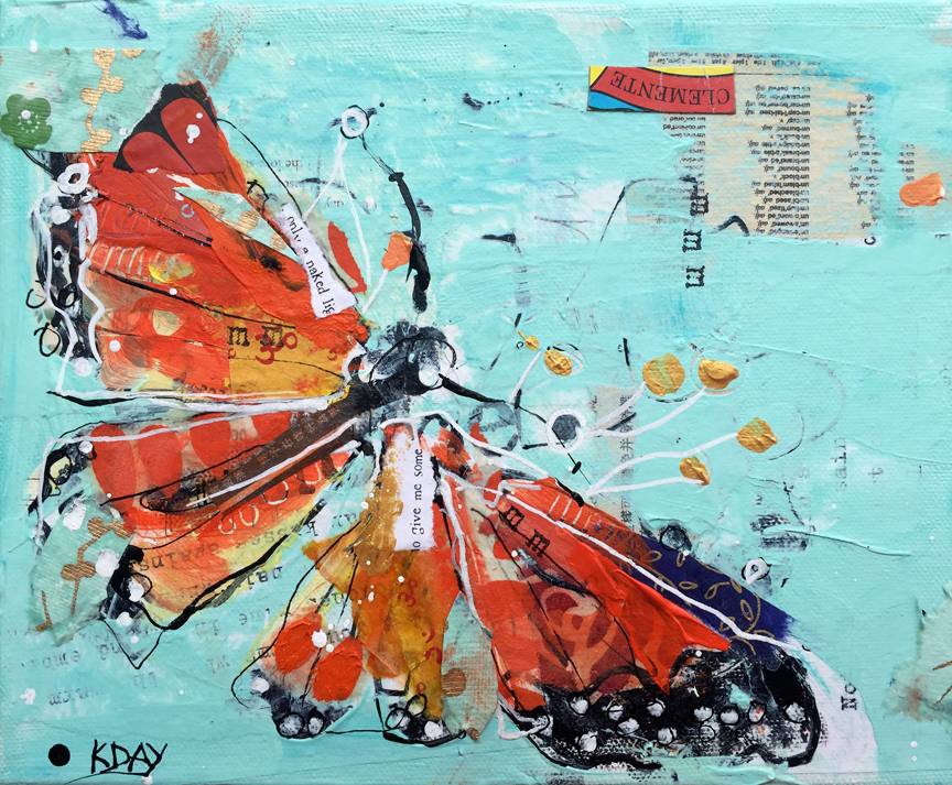 Butterfly Dance, mixed media on canvas ©Kellie Day