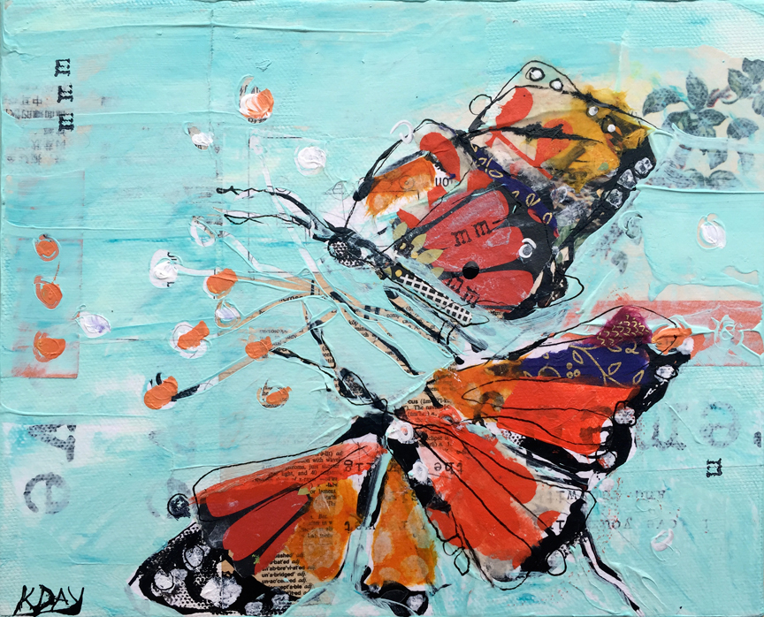 Tiny Beautiful Things, Mixed media butterflies on canvas ©Kellie Day