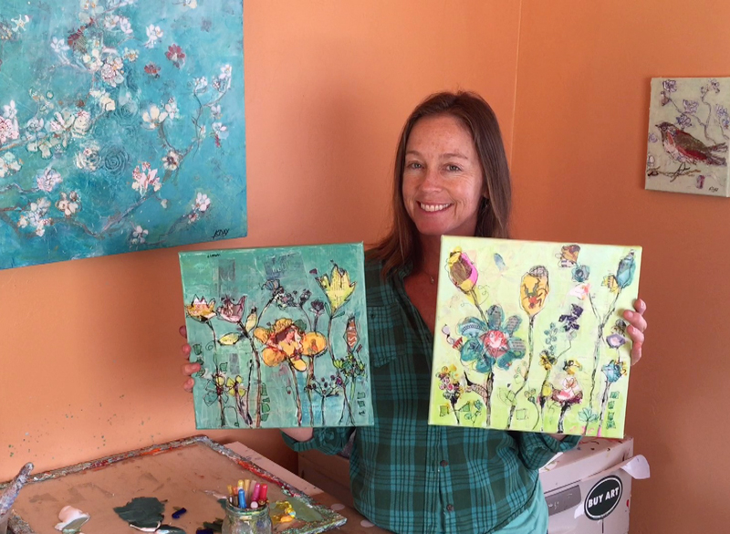 Paint Peekaboo flowers with me in this relaxed, mixed media painting class online!