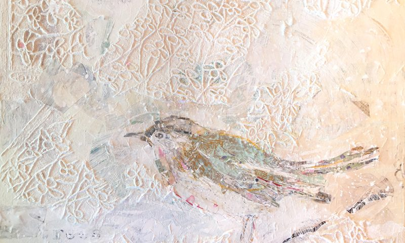 "Winter Bird, mixed media on canvas, 30"" x 24"", $1000, ©Kellie Day"