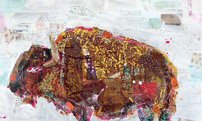 "El Buffalo, mixed media on canvas, 36"" x 36"", $1900 ©Kellie DAy"