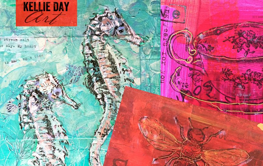 Making Art Transfers on Mixed Media Collage with Kellie Day