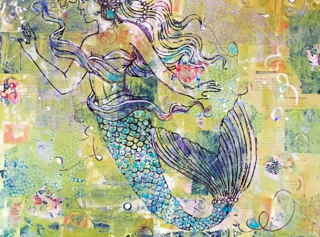 "Mermaid Magic, mixed media on canvas, 24""x24"", $500 ©Kellie Day"