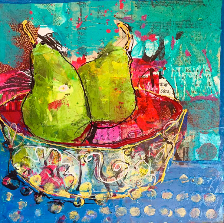 "The Perfect Pear, 10"" x 10"", mixed media on canvas, ©Kellie Day, available"