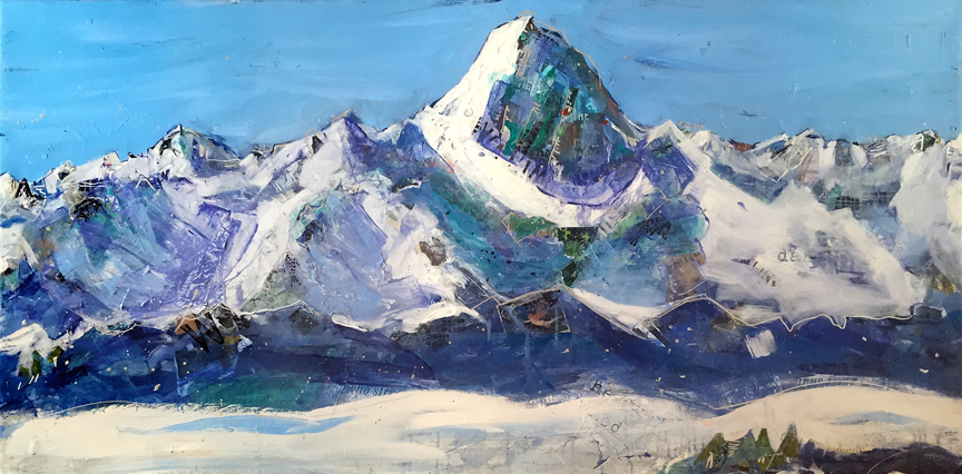 """No Limits"", Wilson Peak painting, mixed media on canvas, 5' x 3', ©Kellie Day"