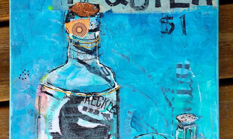 """Tequila, mixed media on canvas, 14"""" x 18"""", ©Kellie Day, Available"""