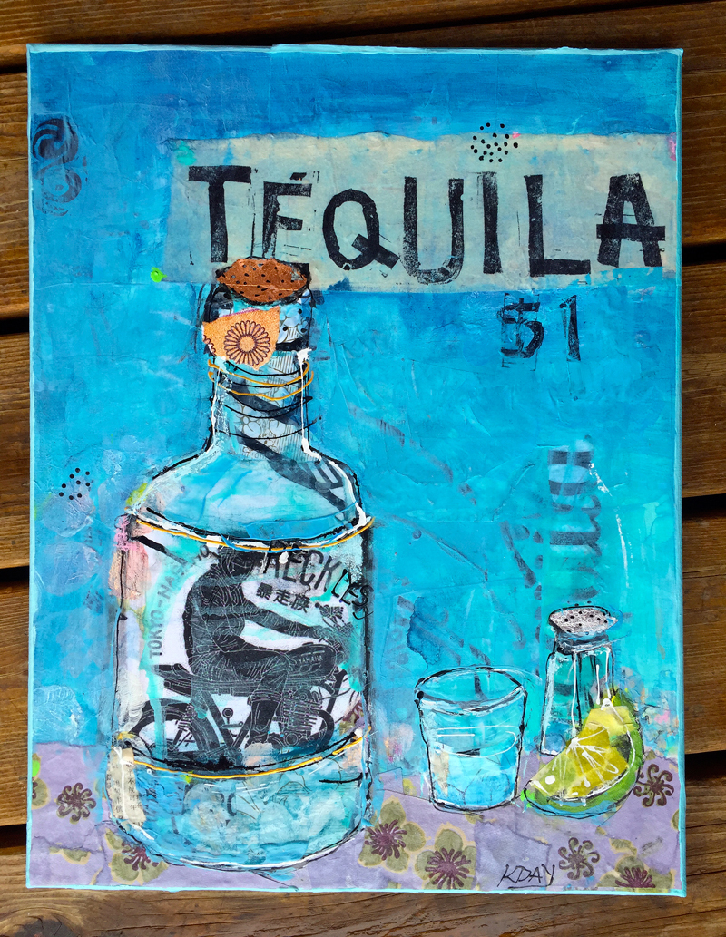 Tequila, mixed media on canvas, 14