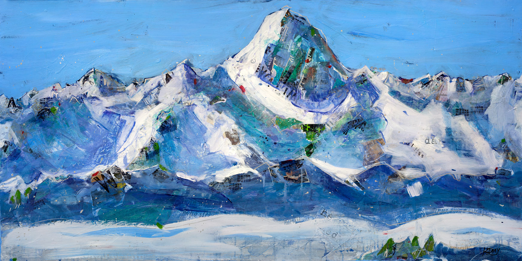 Wilson Peak, Telluride, Colorado, mixed media painting on canvas ©Kellie Day