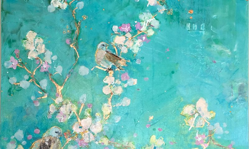 "Gospel of Birds, mixed media bird painting, ©Kellie Day, 30"" x 40"", available"