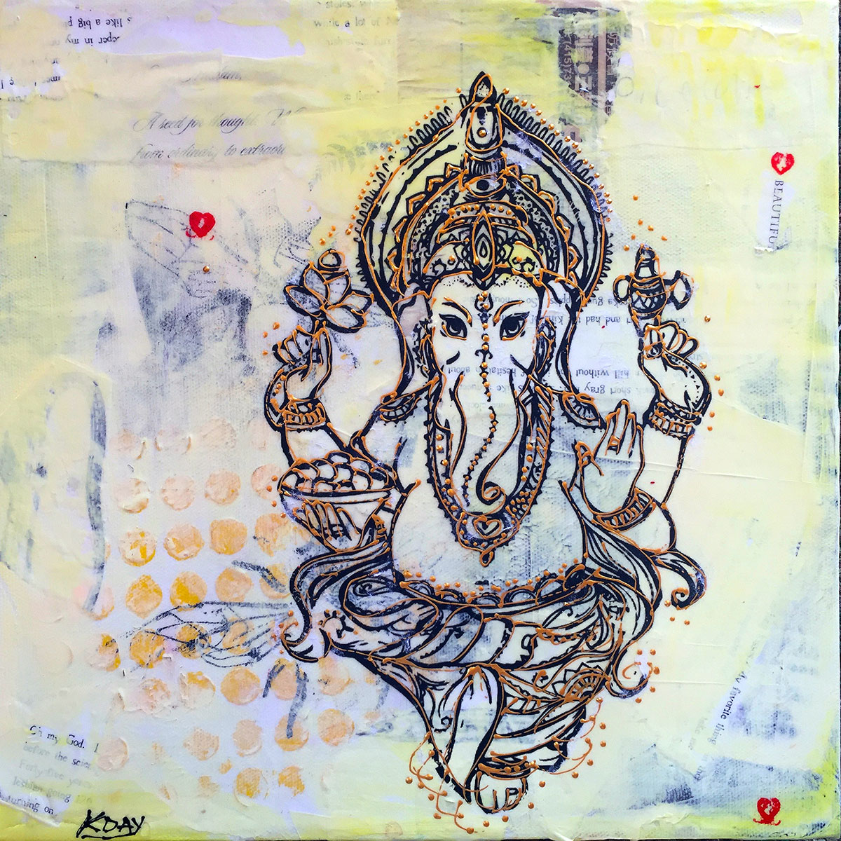 mixed media ganesh painting by kellie day