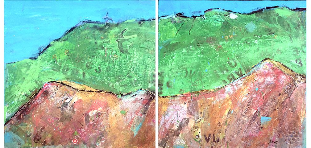 "Red Mountain diptych, 60"" x 30"", mixed media on canvas ©Kellie Day"