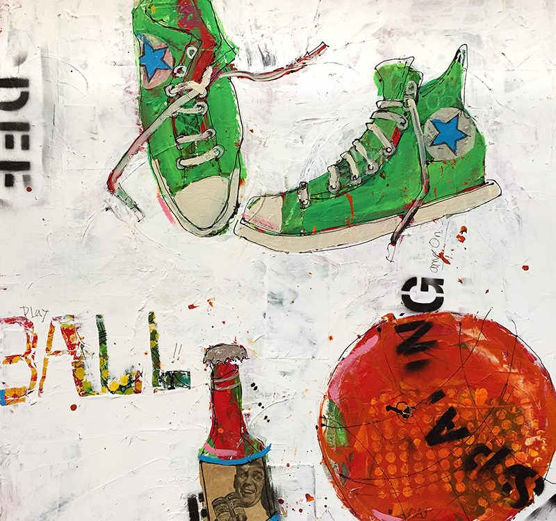 """Hoops and Beer, 30"""" x 30"""",mixed media basketball painting, ©Kellie Day"""
