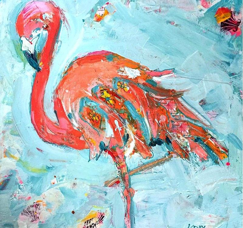 "Mixed media Flamingo on Canvas, ©Kellie Day, 18"" x 18"""