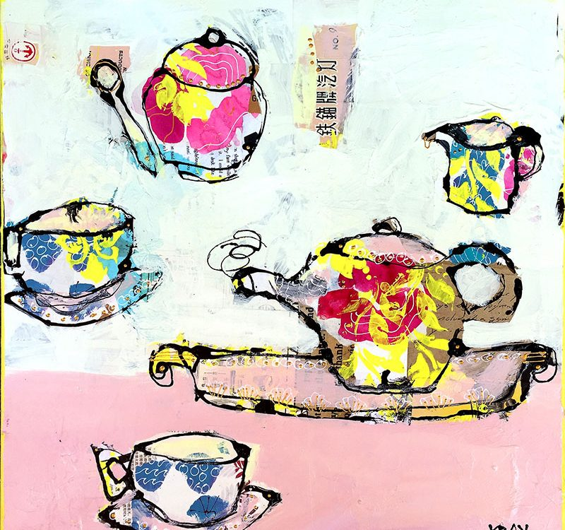 "Tea with Granny, mixed media tea cups, 18"" x 18"", ©Kellie Day, available"