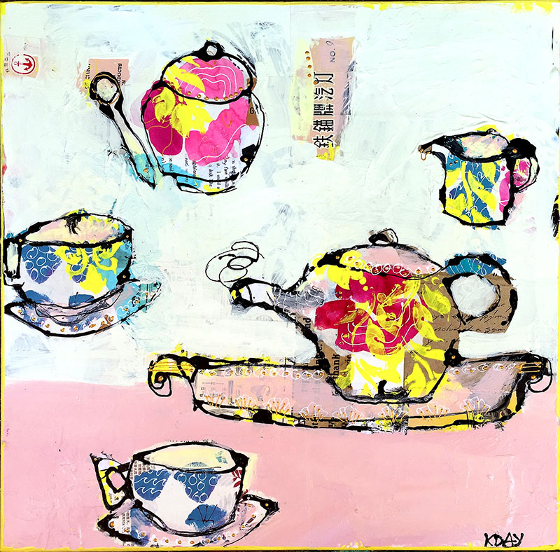 Tea with Granny, mixed media tea cups, 18