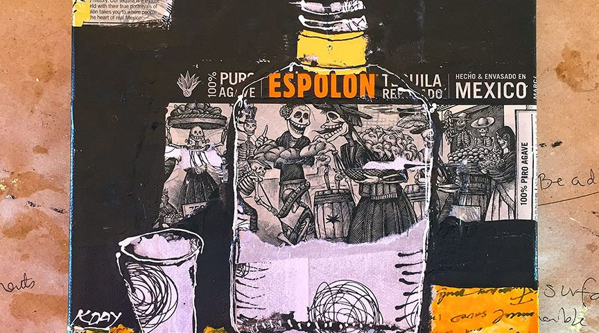 Espolon, mixed media tequila painting ©Kellie Day
