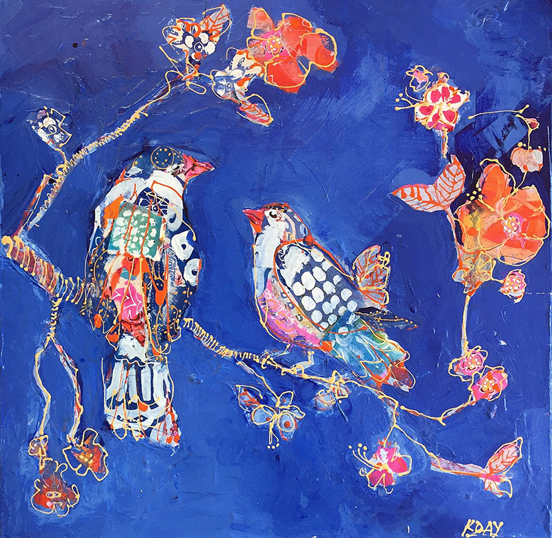 Kellie Day mixed media indigo birds