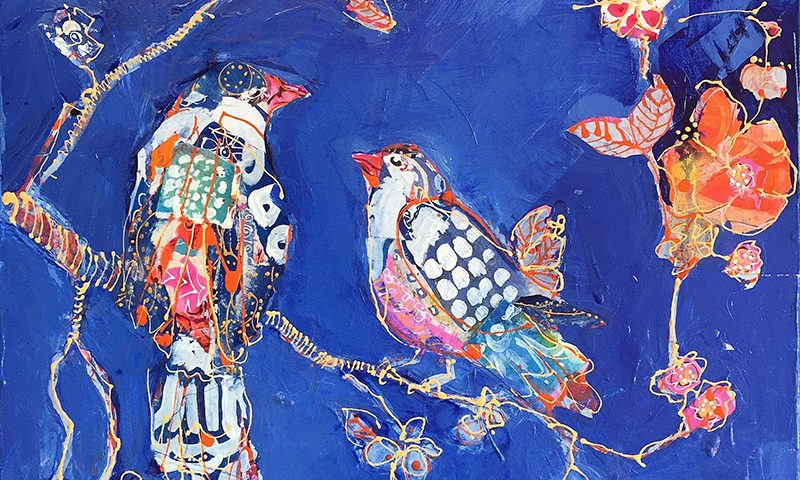 Indigo Bird painting, made with patterns I created beforehand ©Kellie Day