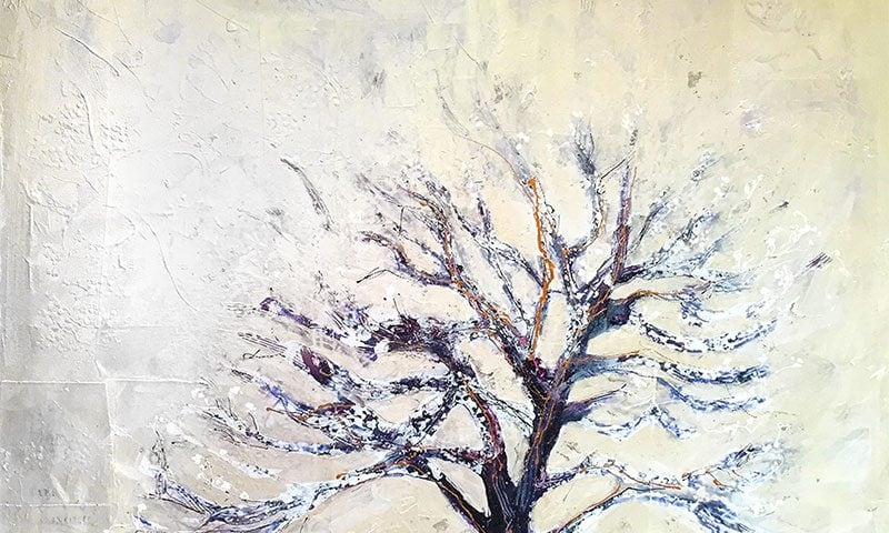 "Winter Tree 1, ©Kellie Day, 36"" x 36"", mixed media on canvas"