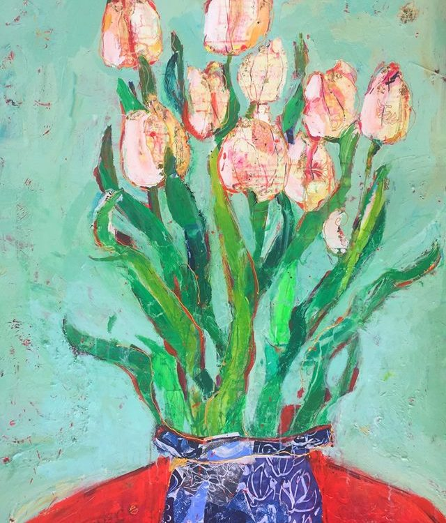 "Eternal Tulips, 36"" x 48"", mixed media on canvas ©Kellie Day"