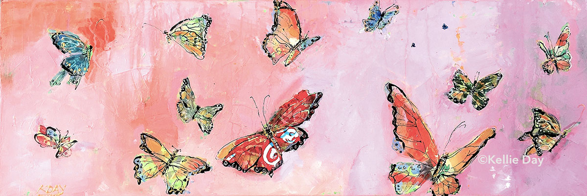 Butterflies, mixed media on canvas, 36