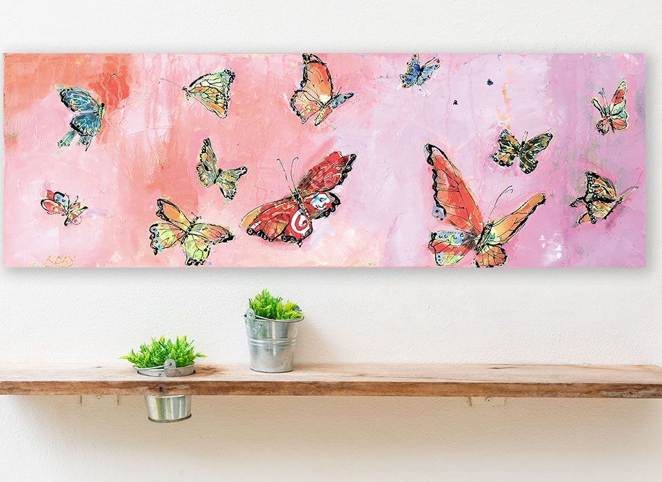"Butterflies, mixed media on canvas, 36"" x 12"", ©Kellie Day, Available"
