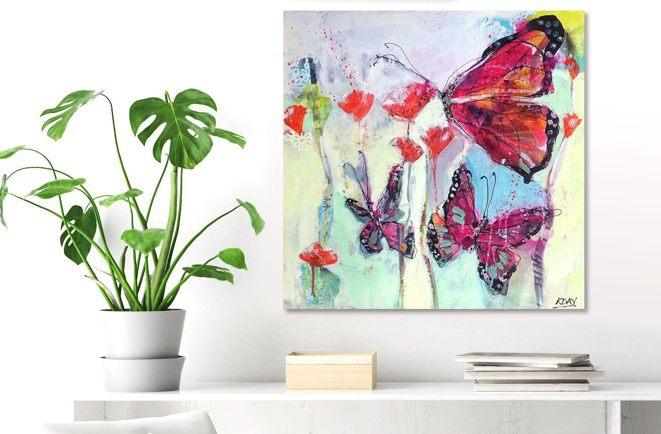 Butterfly playground, mixed media butterfly painting on canvas by Kellie Day