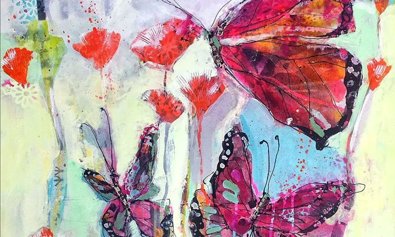 "Butterfly Playground, ©Kellie Day, mixed media on canvas, 24"" x 24"","