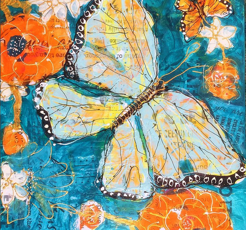 "Butterfly Transformation, 12"" x 12"", mixed media butterfly painting on canvas, ©Kellie DAy"
