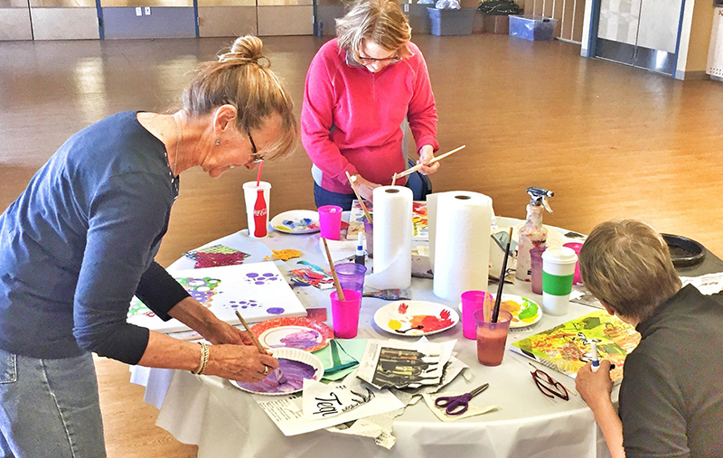 Painting mixed media in our southwest Colorado class with kellie Day