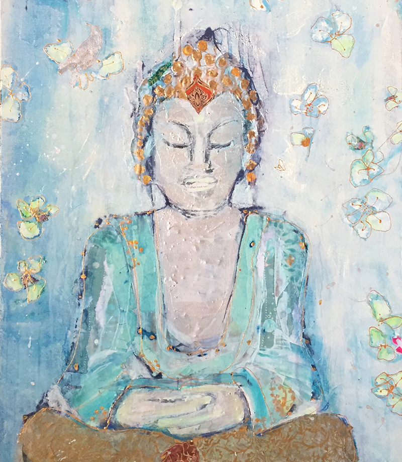 Buddha, mixed media on canvas, 24