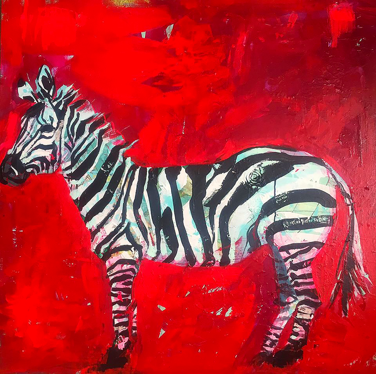 Zebra painting, mixed media on canvas, 48