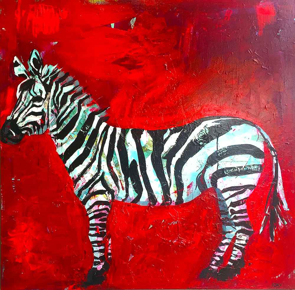 Zebra, mixed media zebra painting on canvas, ©Kellie Day