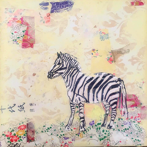 "Little Zebra painting, mixed media on canvas, 12"" x 12"", © Kellie Day"
