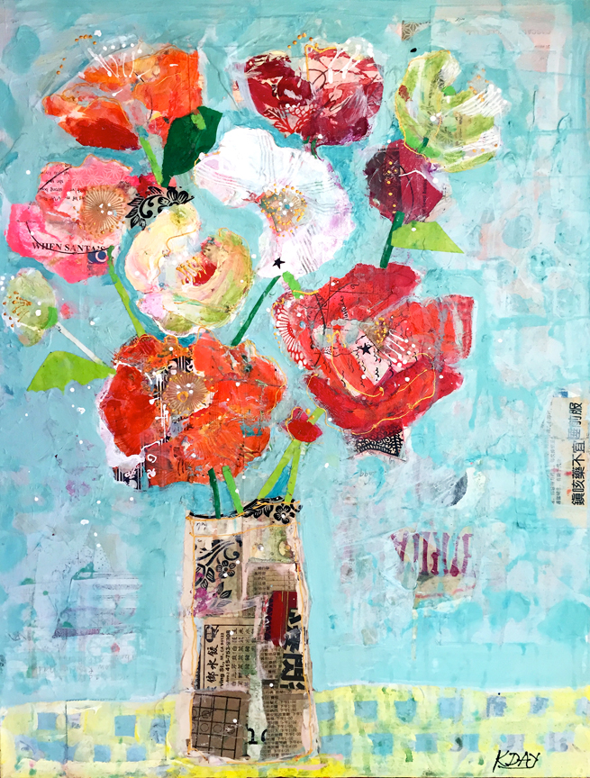 Kellie Day mixed media flowers painting