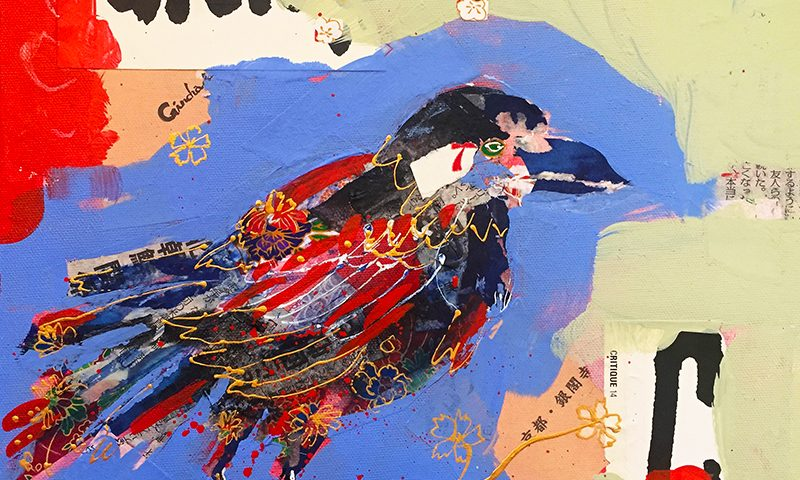 "Crazy Ass Crow, 12"" x 12"" mixed media on canvas ©Kellie Day"