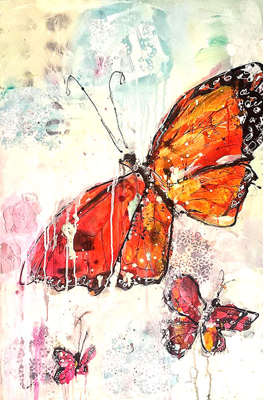 Kellie Day mixed media butterfly painting