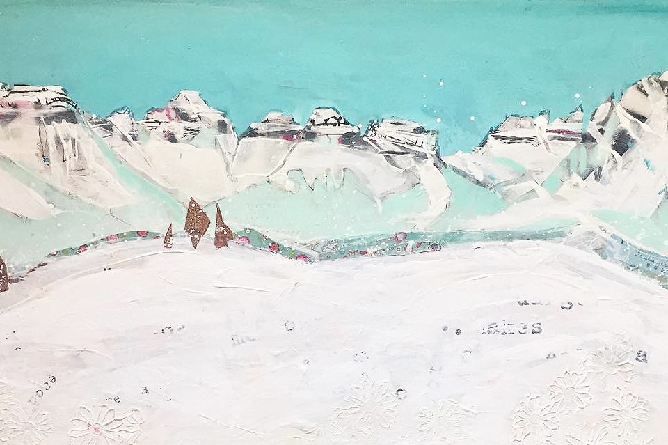 Sneffels Range, mixed media mountain painting ©Kellie Day