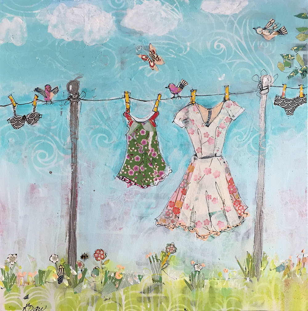 Summer Laundry, mixed media summer day, ©Kellie Day