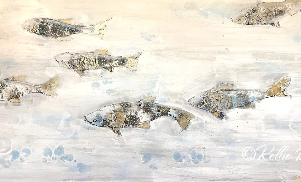 In the Flow fish painting © Kellie Day