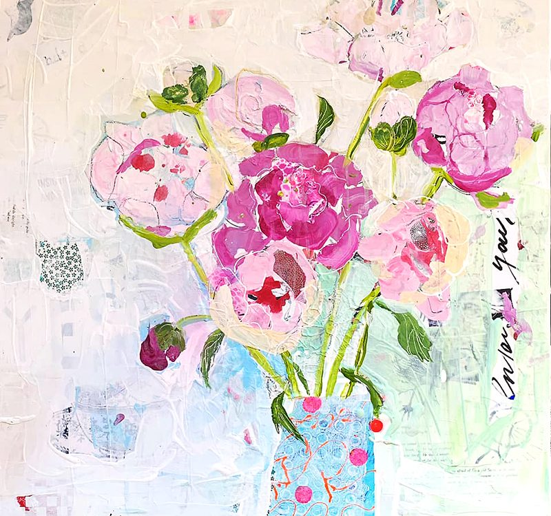 Mixed media peonies painting ©Kellie Day